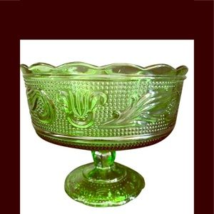 Vintage  Green glsss candy dish.